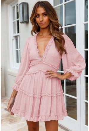 Layered Ruffled Open Back Puff Sleeve Swiss Dot Mini Dress