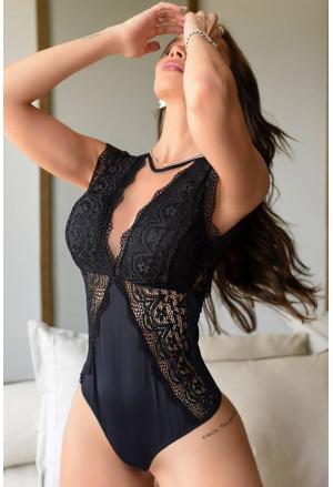 V Neck Crochet Lace Splicing Backless Bodysuit