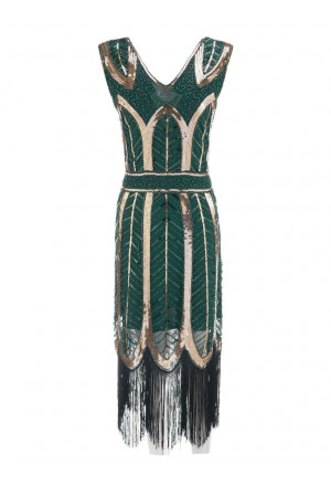 Women's Vintage 1920s Style Blue Cap Sleeve Sequin Fringe Flapper Dress