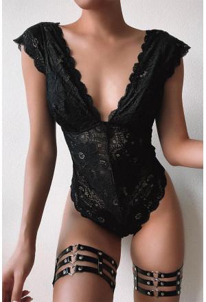 Black V Neck Scallop Edge Lace Bodysuit