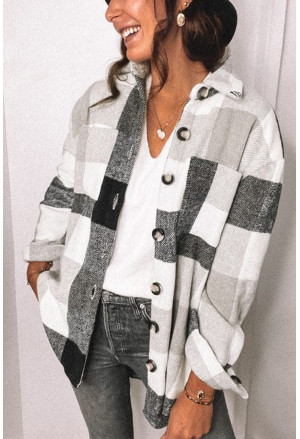 Plaid Color Block Buttoned Long Sleeve Jacket with Pocket