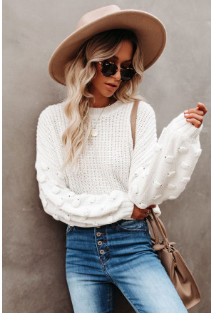 Bubble Sleeve Cropped Knit Sweater