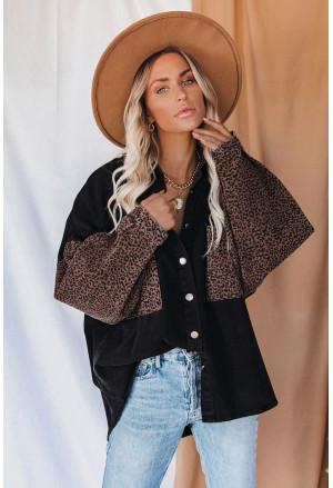 Contrast Leopard Denim Jacket
