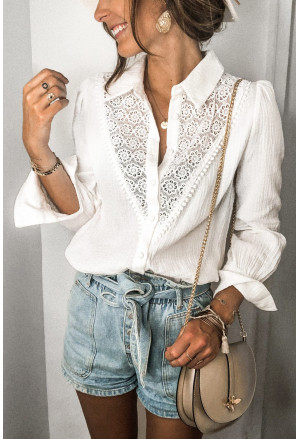 Floral Lace Hollow-out Splicing Crinkled Shirt