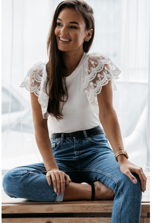 White Lace Flutter Sleeve Top