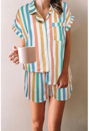 Multicolor Striped Turn-down Collared Pajamas Set