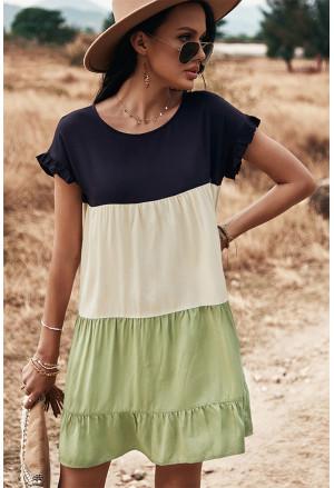 Loose Fit Ruffled Color Block Dress