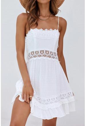 White Crochet Hollow-out Slip Dress with Ruffled Hemline
