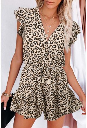 Leopard Button Ruffle Romper