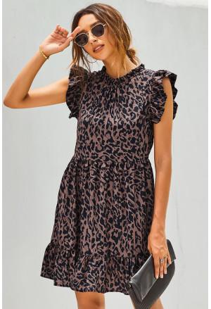 Leopard Print Ruffled Hemline Swing Dress