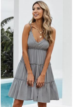 Spaghetti Straps Ruched Ruffled Mini Dress