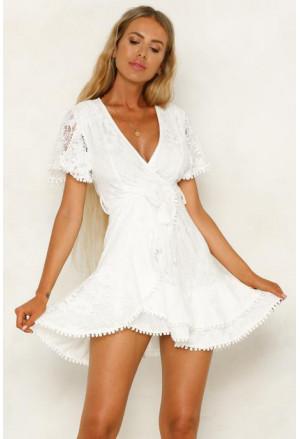 Flutter Sleeve Wrap V Neck Floral Lace Short Dress