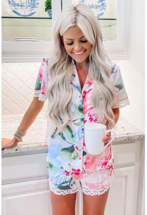 Multicolor Floral Print Lapel Button Shirt Shorts Pajamas Set