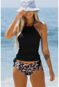 Halter Neck Side Shirring Top and Leopard Panty Tankini Set
