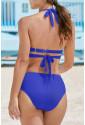 Halter Neck Criss Cross High Waist Bikini Set