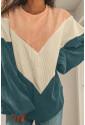 Colorblock Balloon Sleeve Corduroy Sweatshirt