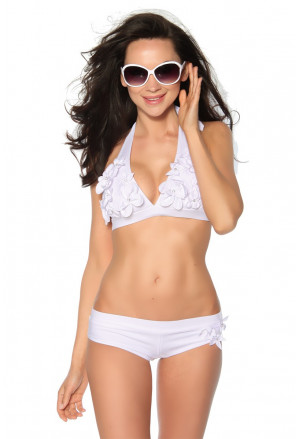 Two piece white swimwear with flowers