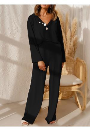 Long Sleeve Buttoned Wide Leg Lounge Wear