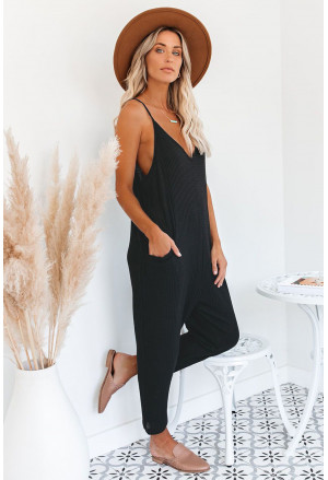 Sleeveless Wide Leg Loose Jumpsuit with Pocket