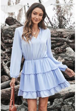 V Neck Long Sleeve Ruffle Tiered Mini Dress