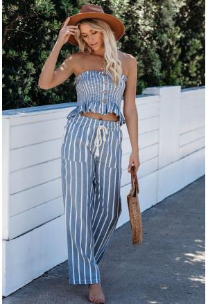 Smocked Striped Tube Top and Pants Set