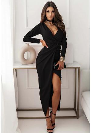 ong Sleeve V Neck Twist Front Slit Long Dress