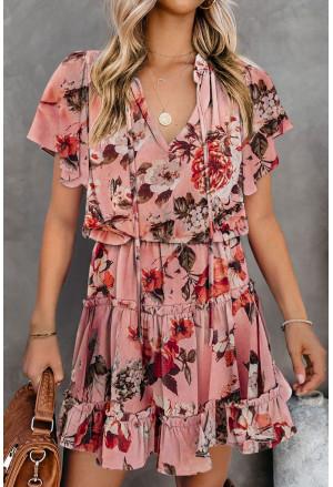 Print Split Neck Flutter Sleeve Flowy Tunic Mini Dress