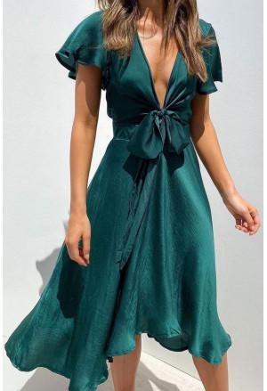 Deep V Neck Flutter Sleeve High Waist Flare Midi Dress