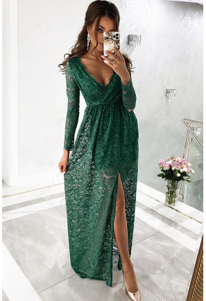 Long Sleeve V Neck Lace Maxi Dress with Split