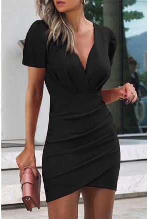 Women's Summer Bodycon Solid Color Dresses Fashion V Neck Sexy Mini Dress Short Dress