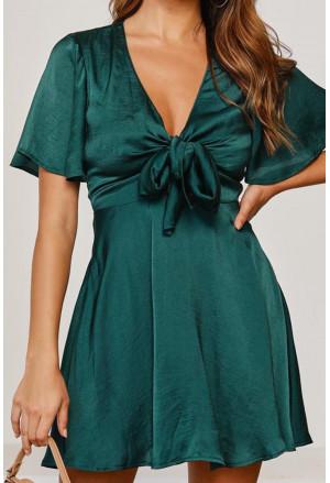 Sleeve Satin Knot Front High Waist Mini Dress