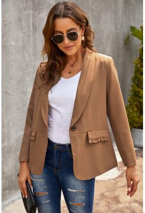 Lapel Collar Button Pocket Blazer