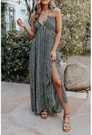 Pocketed Printed Halter Backless Maxi Dress