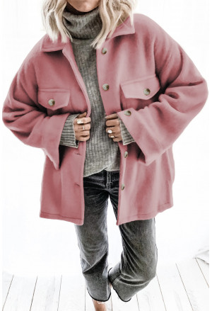 Turn Down Collar Buttoned Baggy Coat with Pocket