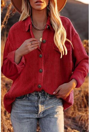 Corduroy Long Sleeve Button-up Shirt Coat