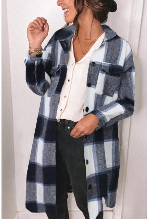 Shirt Collar Button Closure Plaid Coat