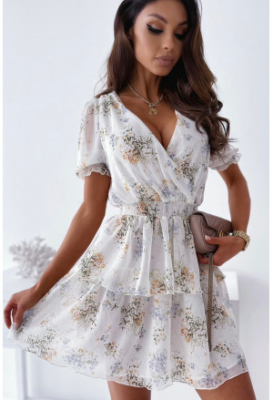 Wrap V Neck Tiered Ruffle Floral Dress