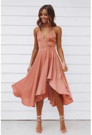 Sleeveless Open Back Tie Knot Ruffed Midi Dress