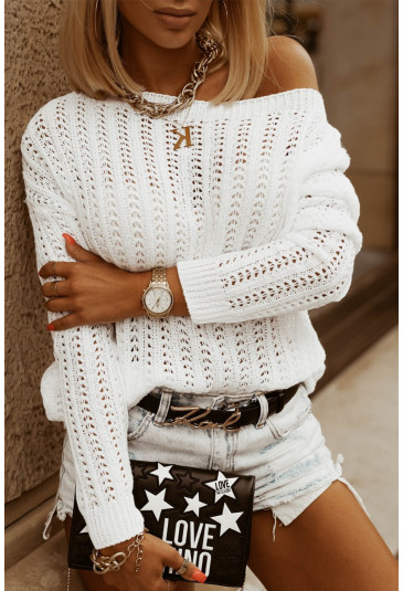 Hollow-out Drop Shoulder Knitted Sweater