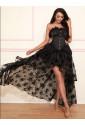 Victorian Gothic Black Elastic High-low Organza Skirt
