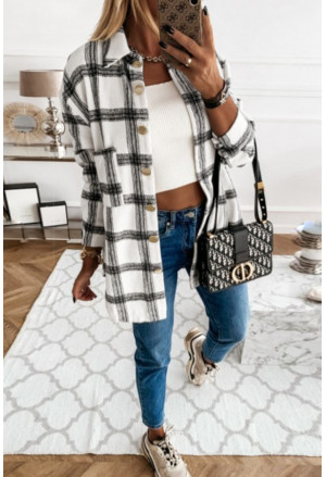 Plaid Pattern Buttoned Shirt Coat with Slits