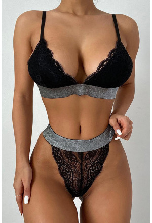 Wide Elastic Band Lace Bra and Panty Set