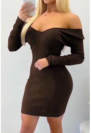 Off the Shoulder Ribbed Bodycon Mini Dress