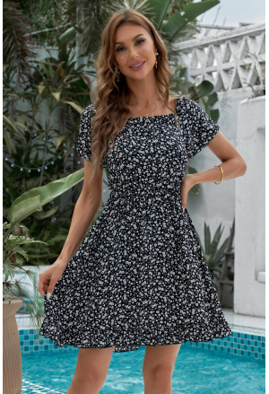 Floral Print Ruffled Lace-up Backless Mini Dress