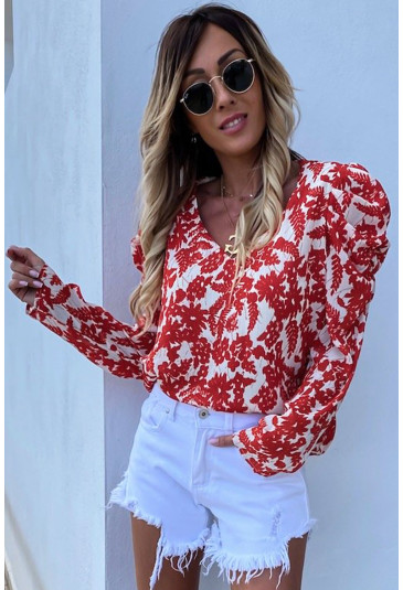 V Neck Puff Sleeve Floral Print Blouse