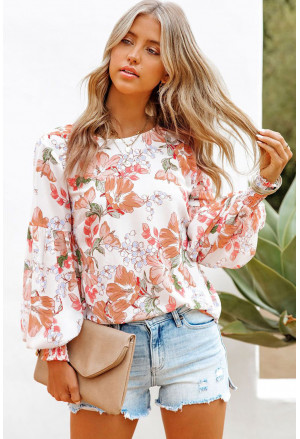 Floral Print Smocked Cuff Puff Sleeve Shirt