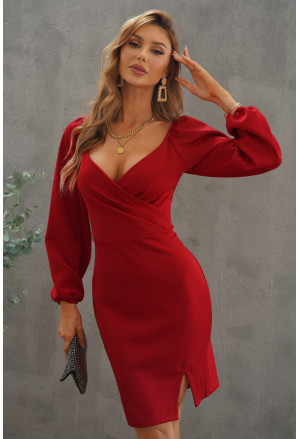 Wrapped Bodice Bubble Sleeve Bodycon Mini Dress with Slit