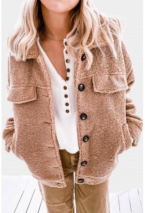 Buttons Turn-down Collar Sherpa Coat
