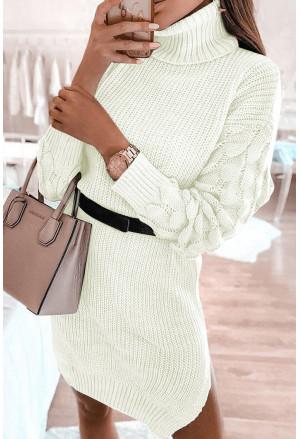 Plain Turtleneck Sweater Dress with Slits