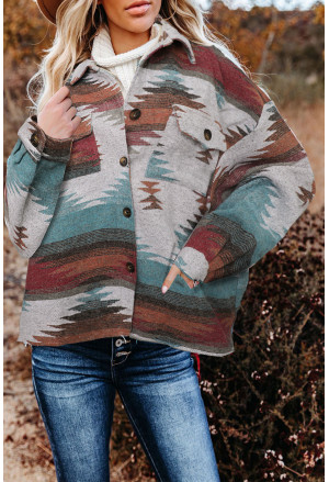 Distressed Aztec Print Lapel Long Sleeve Button Shirt Jacket